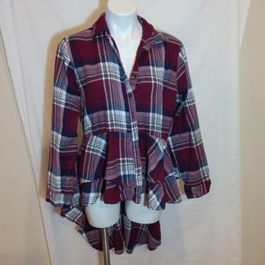 ASHLEY STEWART  hi lo ruffled plaid top